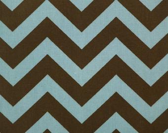 Premier Prints ZigZag Chevron in Village Blue Natural Brown Home Decor fabric, 1 yard 7 oz Cotton