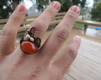Adjustable Carnelian Wire Wrapped Copper Ring with Pearl Accents