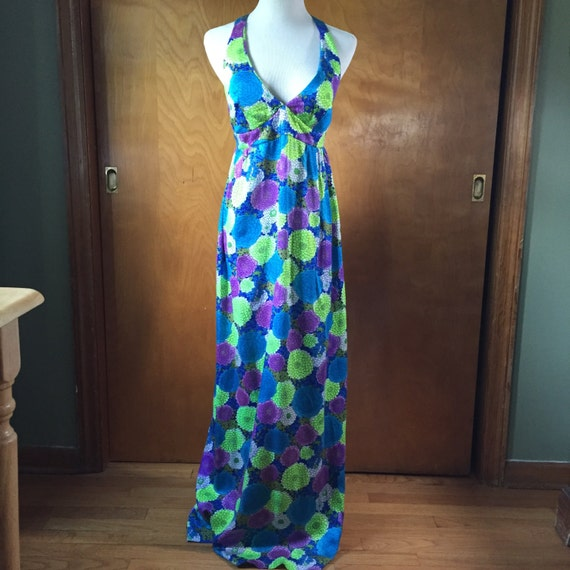 Early 70s psychedelic floral print maxi dress, siz