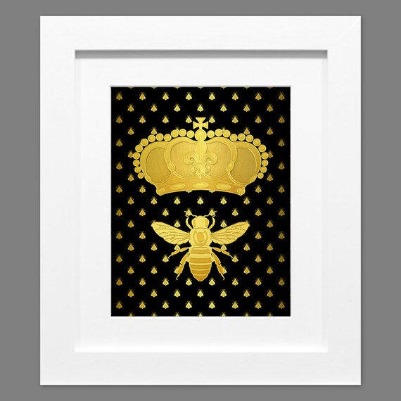 Printable Art Faux Gold Print Napoleonic Bee With Gold Crown Etsy