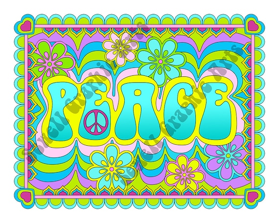 Adult Coloring Page Peace Digital Printable Coloring Page For Etsy