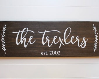 """wood family established sign   7.25""""x24""""   dark walnut with vines, family sign, personalized sign, last name sign, rustic decor, wedding"""