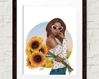 aa04d0a0448 Fashion illustration - Fashion art print - Summer Blooms - Sunflowers -  Summer Vibes
