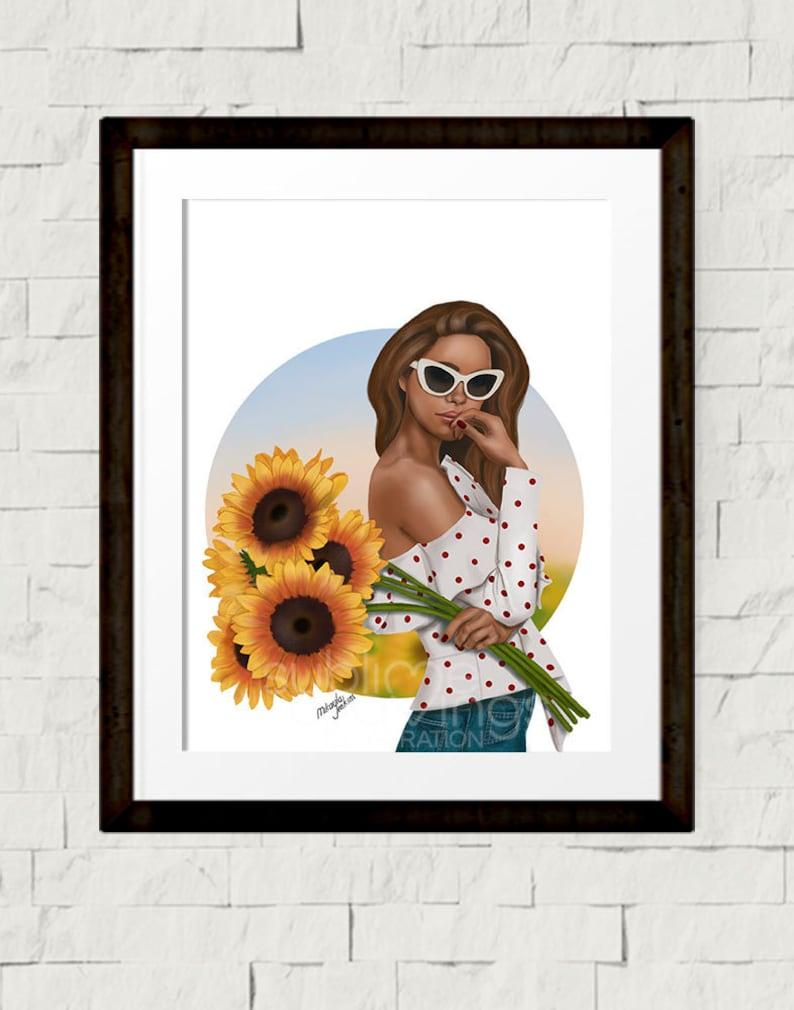 Fashion illustration  Fashion art print  Summer Blooms  image 1