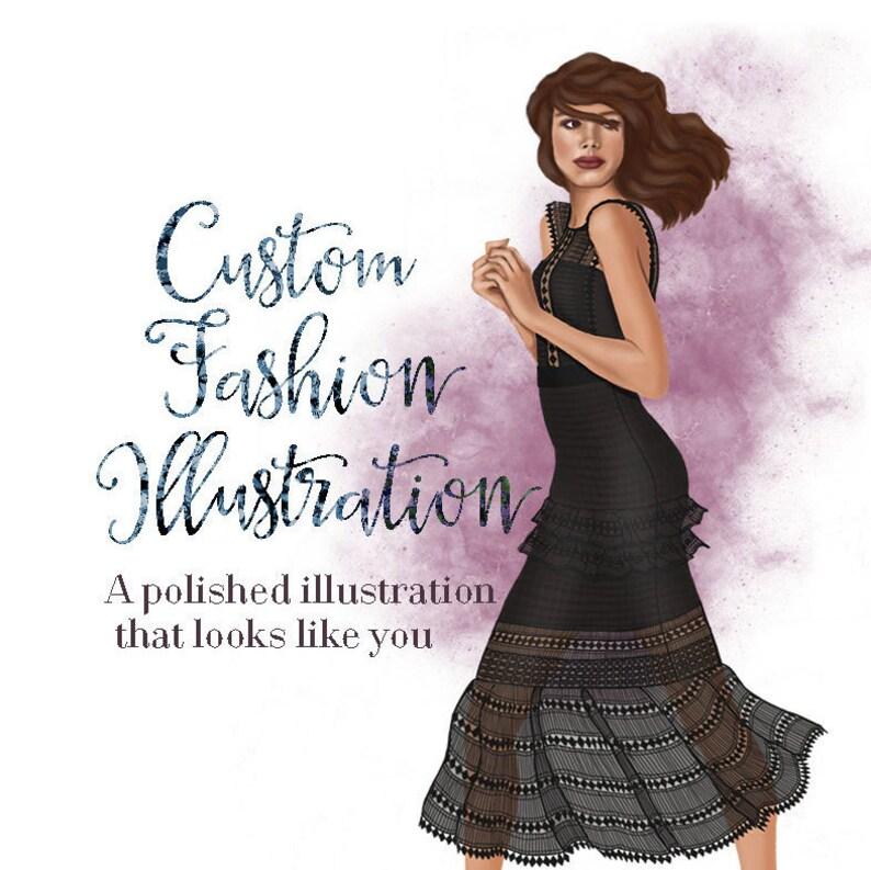 Custom fashion illustration  Personalized portrait  Custom image 0