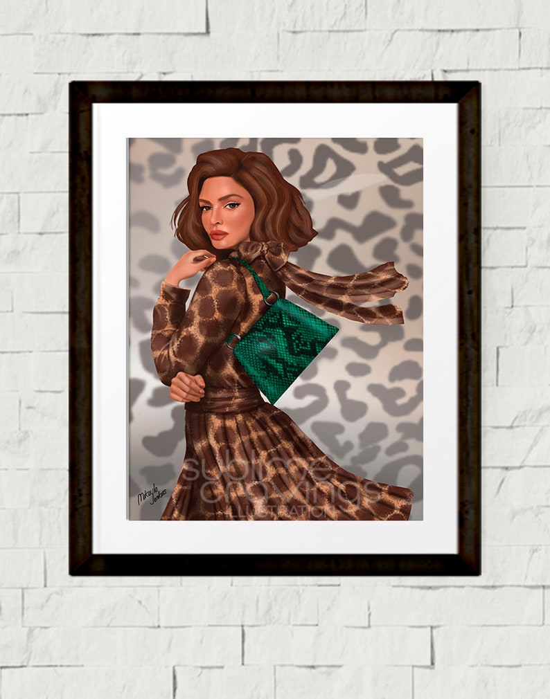 Fashion illustration  Fashion art print  Animal Print  image 0