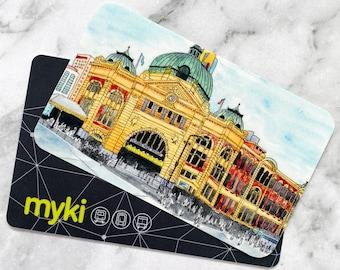 Travel Card Vinyl Stickers   Flinders Street Station Vinyl Stickers   Water-Resistant Stickers   Watercolour Stickers (VN-001)