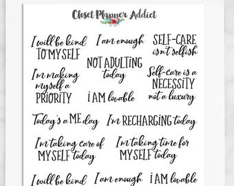 Self Care Quotes Planner Stickers   Quote Stickers   Self Care (S-450)