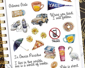 Gilmore Girls Planner Stickers   Luke's Diner Stickers   In Omnia Paratus   Dragonfly Inn Stickers   TV Show Stickers   Books (S-362)