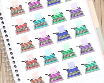 Typewriters Planner Stickers   Writing Stickers   Writers Authors   Vintage Typewriters (S-082)