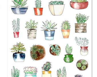 Potted Succulents Planner Stickers | Succulents Stickers | Cactus Stickers | Potted Plants Stickers | Watercolour Stickers (S-304)