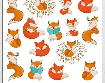 Cute Foxes Planner Stickers | Fox Stickers | Animals Stickers | Cute Fox Stickers| Reading Stickers | Funny Fox Stickers (S-206)