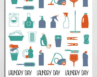 Household Chores Planner Stickers | Housework Stickers | Laundry Day Stickers | Vacuuming Stickers | Cleaning Stickers (S-156)