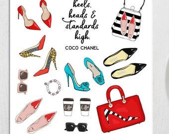 Fashionista Planner Stickers | Fashion Stickers | Bags Stickers | Shoes Stickers | Quote Stickers | Sunglasses Stickers (S-301)