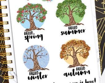 Hello Spring Summer Autumn Winter Planner Stickers | Spring Stickers | Summer Stickers | Fall Stickers | Winter Stickers (S-313)