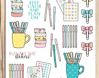 Planner Stationery Planner Stickers | Planner Addict Stickers | Washi Tape Stickers | Gel Pen Stickers | Planner Clips Stickers (S-214)