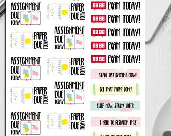 Assignments Planner Stickers | College Stickers | Uni Stickers | School Sticker | Study Stickers | Exam Stickers | Homework Stickers (S-193)