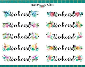 Weekend Brush Script With Tropical Watercolour Flowers Planner Stickers (FP-003)