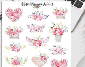 Watercolour Pink Peonies Planner Stickers (S-150)