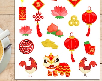 Chinese New Year 2017 Planner Stickers | Chinese New Year | Rooster Year | New Year Stickers | Chinese Stickers | Prosperity Ang Pow (S-199)
