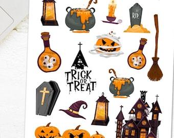 Happy Halloween Planner Stickers   Cute Halloween Stickers   Halloween 2021   Pumpkin Stickers   Haunted Mansion Stickers (S-594)