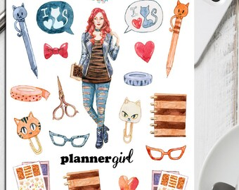 Cat Lover Planner Girl Planner Stickers | Planner Addict | Cat Stickers | Washi Tape Stickers | Stationery Stickers (S-212)