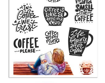 Coffee Quotes Planner Stickers | Mystery Grab Bag Jan 2018 | Coffee Stickers | Quotes Stickers | Coffee Addicts | Coffee Lovers (MGB-JAN18)
