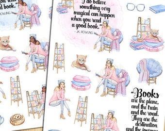 Book Lovers Planner Stickers | Watercolour Books | Books Stickers | Relax With A Book | Watercolour Stickers | Currently Reading (S-259)