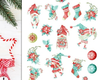 Fun Christmas Gnomes Planner Stickers   Christmas 2021   Christmas Gnomes   Gnome Stickers   Christmas Stockings Stickers (S-599)