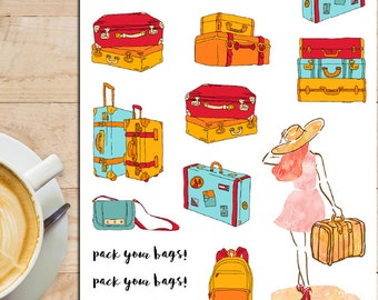 Travel Luggage Planner Stickers | Luggage Stickers | Travel Stickers | Illustration | Wanderlust Stickers (S-161)