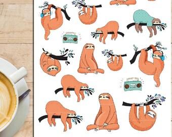 Sleepy Sloths Planner Stickers | Cute Sloths | Lazy Sloths | Sloth Stickers | Animal Stickers | Lazy Day Stickers (S-186)