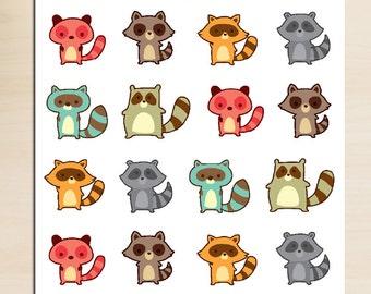 Cute Raccoon Planner Stickers | Raccoon Stickers | Colourful Raccoon | Animal Stickers | Funny Raccoon (S-133)