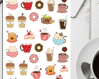 Cute Coffee and Tea Planner Stickers | Tea Stickers | Coffee Stickers | Teatime Stickers | Morning Tea | Afternoon Tea | Cute Cats (S-132)