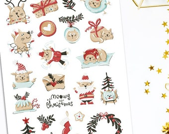 Merry Meowmas Christmas Cats Planner Stickers   Christmas 2021   Christmas Stickers   Funny Cats   Cute Christmas Cat Stickers (S-600)