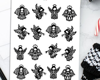 Angels Planner Stickers   Christmas 2021   Christmas Stickers   Christmas Angels   Black and White Angel Stickers (S-597)