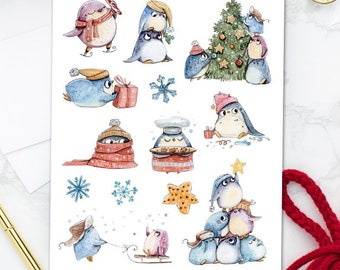 Cute Christmas Penguins Planner Stickers   Christmas 2021   Christmas Stickers   Penguin Stickers   Funny Penguins (S-598)