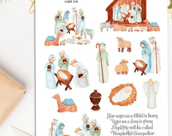 Christmas Nativity Scene Planner Stickers   Christmas 2021   Christmas Stickers   Nativity Scene   Christian Stickers (S-602)