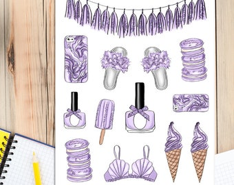 Lavender Lifestyle Planner Stickers | Purple Stickers | Lavender Stickers | Lifestyle Stickers | Fashion Stickers| Bunting (S-318)