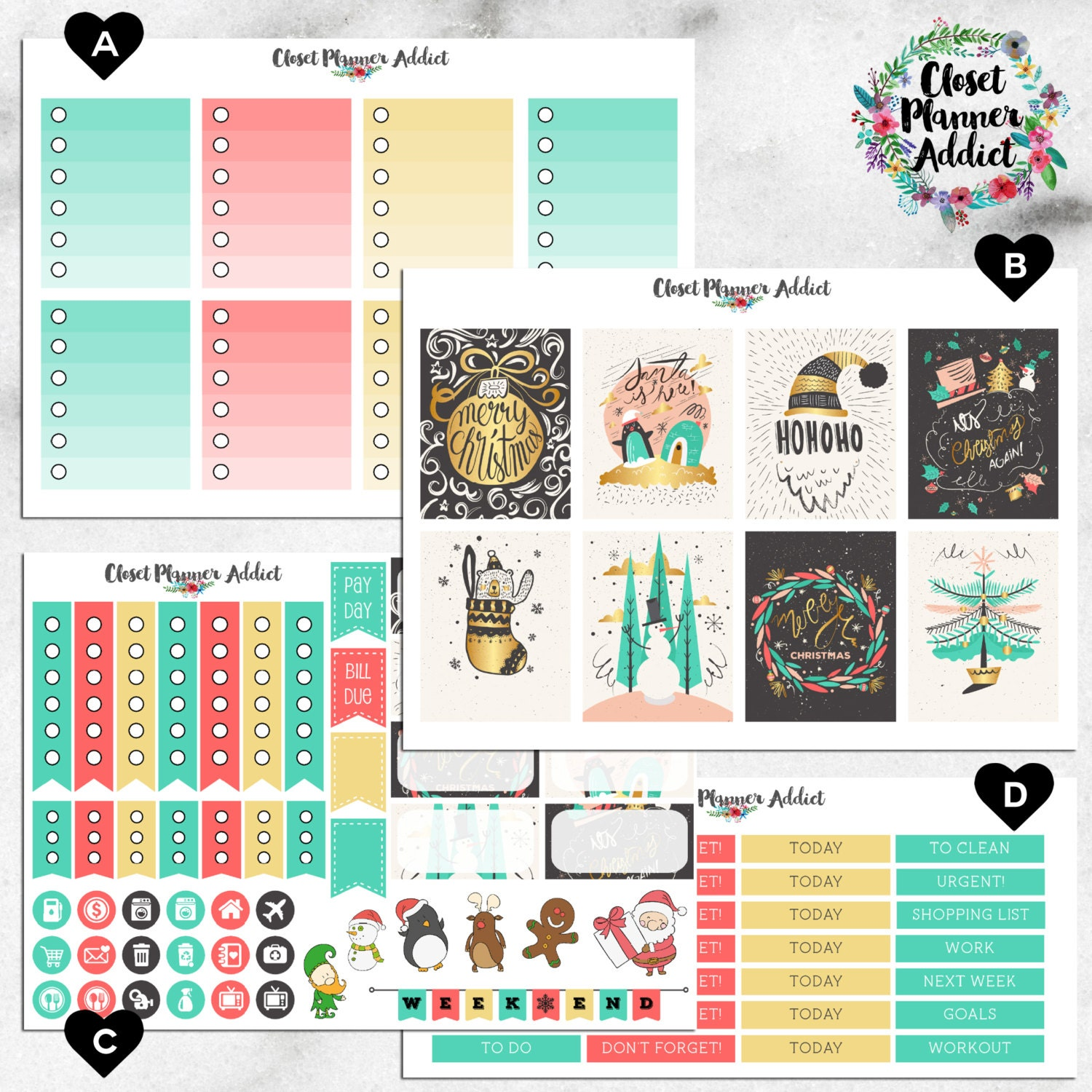Vertical Weekly Kit Planner Stickers - Golden Christmas | Boxes, MDN  Stickers, Icons | For Use With Erin Condren Life Planner™ (EC-024)