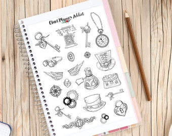 Steampunk Hand-Drawn Illustrated Planner Stickers | Steampunk Stickers (S-099)