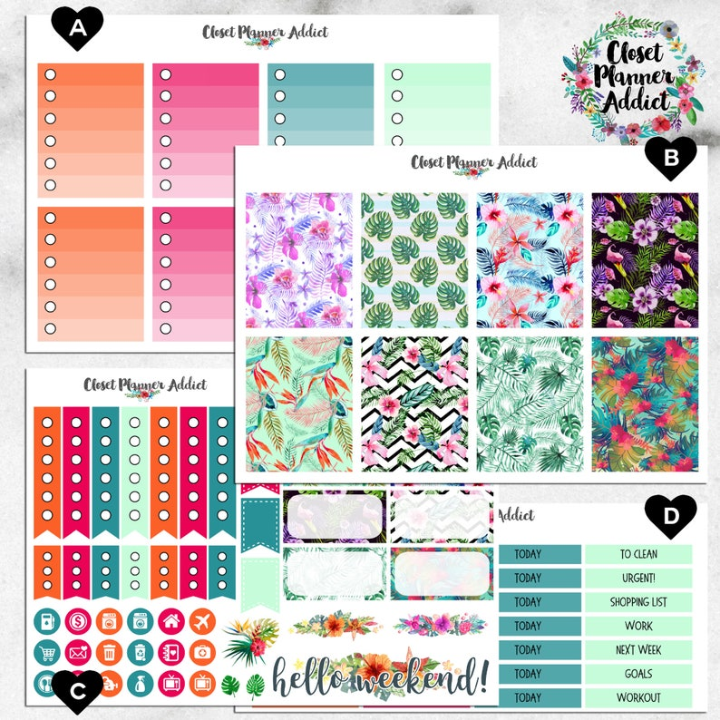 Vertical Weekly Kit Planner Stickers - Watercolour Tropical | Boxes, MDN  Stickers, Icons | For Use With Erin Condren Life Planner™ (EC-026)