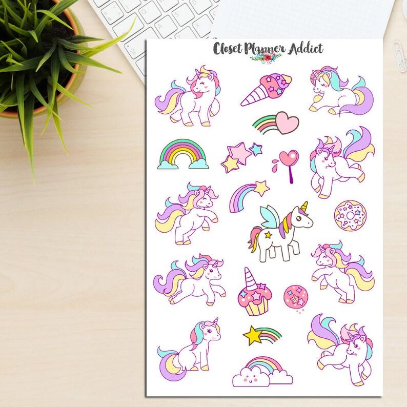 Unicorni Colorati Planner Adesivi Unicorni Adesivi Etsy