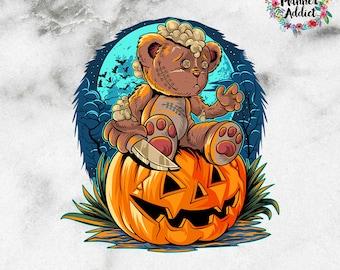 Halloween Teddy Bear and Pumpkin Die Cut Sticker   Halloween 2021   Halloween Die Cut (DC-024)