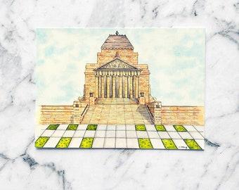 Shrine of Remembrance Postcard   Hand Drawn Postcard   Melbourne Postcard   Australian Postcard   Postcrossing (PC-015)