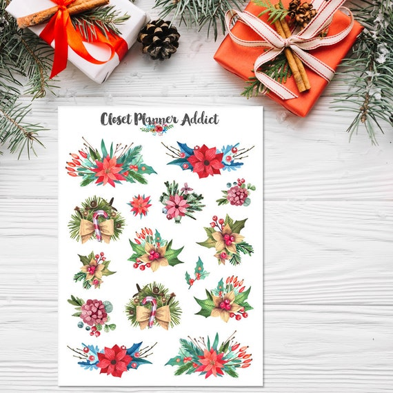 Aquarell Weihnachten Blumen Sticker Weihnachten Aufkleber | Etsy