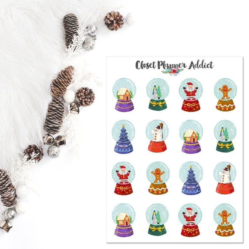 Christmas Snow Globes Planner Stickers  Christmas Stickers  image 0