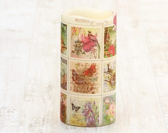 Decorative Pillar Candle with Botanical Print, Floral Flameless Candle, Gift for Teacher, Birthday Gift for Her, Whimsical Home Decor