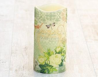 Decorative Floral Flameless Pillar Candle, LED Candle with Floral Print, Green Flameless Candle, Whimsical Home Decor, Flower Print