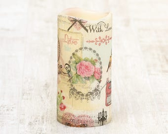 With Love Decorative Pillar Candle Birthday Gift, Flameless LED Candle, Whimsical Home Decor, Gift for Teacher, Birthday Gift Nana