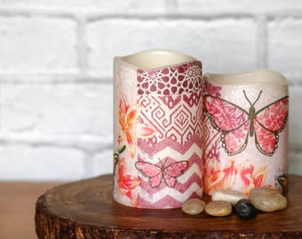 Set of 2 Pink Butterfly Flameless Candles, Garden Decoration, Gift for Teacher, Birthday Gift For Her, Pink Butterfly Home Decor